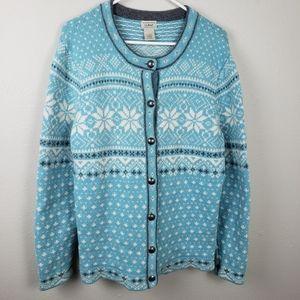 LL Bean Blue Woven Snowflake Nordic Sweater XL